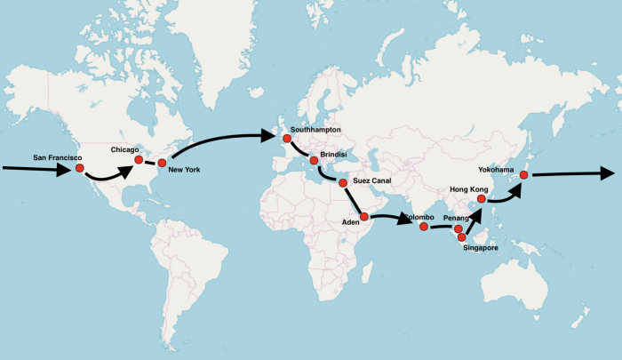 Nellie Bly's Route